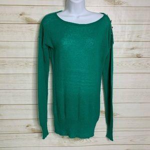 Green crewneck sweater by J. Crew